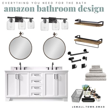 Amazon Farmhouse Bathroom finds all affordable and prime — coupons available on some items too!! . . . .  . Bathroom // farmhouse // modern farmhouse // towels // towel // target home // magnolia home // hearth and hand // target bath // target bathroom // opal house // project 62 // threshold // hand towel // washcloth // trash can // waste basket // bath sheet // bath mat // bath rug // rug // rugs // bath mats // mirror // shower curtain // target mirror // hexagon mirror // Joanna Gaines // rustic bathroom // rustic farmhouse // modern // Scandinavian // storage baskets // wore basket // metal baskets // bathroom decor // bathroom accessories // soap dish // soap bottle // lotion bottle // toothbrush holder // soap dispenser // white towels // white linens // bath linens // closet storage // linen closet // target sale // target clearance // bathroom refresh // spring refresh // organization // organize // tub // shower // bathtub // vanity // Amazon bath // bath finds // Amazon bathroom // bronze bathroom // farmhouse bath // farmhouse bathroom // Modern // clean and modern // modern bath // modern bathroom // Gold bathroom // gold accent bath // vanity // Amazon vanity // shelving // Shelves // bath accessories // towels // Soap dispenser // lights // lighting // vanity lighting   #LTKbeauty #LTKDay #LTKhome