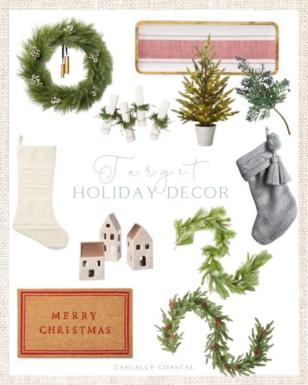 Target Christmas Decor has slowly been releasing Christmas decor and it's already selling out! Sharing some of my favorites, including several pieces that were just released today! - Christmas decor, holiday decor, Christmas home decor, holiday home decor, Christmas decorating, Target decor, Target finds, Target home, Target Christmas decor, Target Holiday decor, affordable christmas decor, affordable holiday decor, faux garland, pine garland, garland for mantle, Christmas mantle decor, Christmas wreath, holiday wreath, winter wreath, pine wreath, faux outdoor Christmas trees, Christmas tray, Christmas entertaining, Christmas stocking, neutral christmas stockings, christmas door mat, holiday door mat, Merry Christmas door mat, Christmas tablescape, Christmas napkin rings, christmas bowl filler  #LTKfamily #LTKhome #LTKHoliday