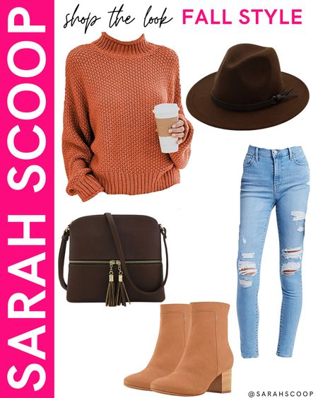 Orange is the perfect color for fall! Take a look at this burnt orange sweater styled with ripped jeans and coffee colored accessories! 🍂🤎🧡  #burntorange#rippedjeans#lightwash#booties#heels#fallboots#purse#hat#amazon#amazonfashion#primewardrobe#fallfashion#outfit#inspiration#pumpkinpatch#applepicking#seasonaloutfits#sweater#fashionhat  #LTKunder100 #LTKstyletip #LTKSeasonal