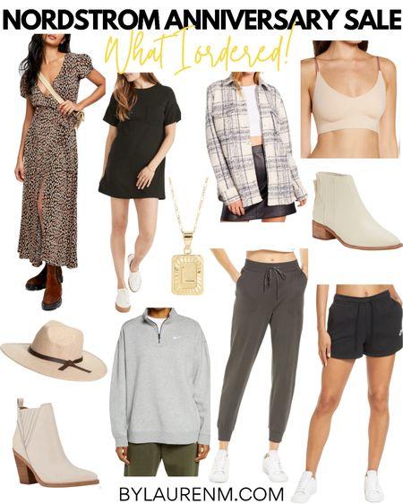 Nordstrom Anniversary Sale picks. What I ordered from the #nsale! In stock items- leopard wrap dress, ribbed T-shirt dress, shacket, soft bra, initial necklace, fall hat, Nike pullover, jogger pants, Nike shorts, white booties. @liketoknow.it http://liketk.it/3jWNY #liketkit #LTKsalealert #LTKunder100 #LTKunder50 @nordstrom #nordstrom