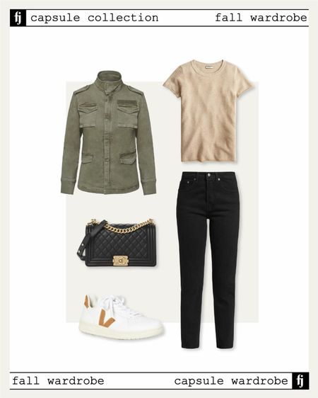Fall capsule wardrobe. Utility jacket with back jeans and Veja sneakers for a casual fall outfit idea   #LTKunder50 #LTKstyletip #LTKunder100