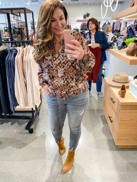 Evereve New Arrivals   Blouse tts, L  // Similar KUT jeans tts, 12 // Booties size up 1/2   Fall Outfits  Evereve  Grey Jeans  Cognac Booties Fall blouse  Thanksgiving outfit   #LTKunder100 #LTKcurves #LTKSeasonal