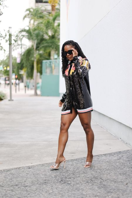 Wearing a jacket as a dress because the streets are calling. #nastygalsdoitbetter #summerdresses #sequinjacket #clearheels   #LTKunder100 #LTKstyletip #LTKfit
