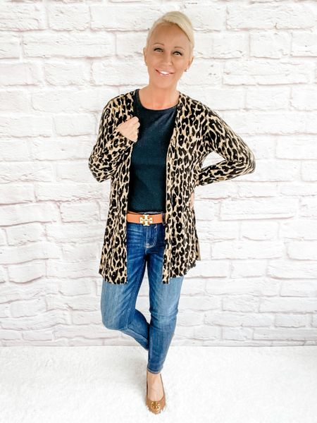 Casual Outfit / Casual Look / Skinny Jeans / Shopping Look / Shopping Outfit / Lunch Look / Lunch Outfit / Date Night Look / Date Night Outfit / Designer Outfit / Kate Spade / Tory Burch / over 40 / over 50 / over 60 / petite / Fall Outfit / Fall Fashion / Leopard Cardigan  #LTKworkwear #LTKstyletip #LTKSeasonal