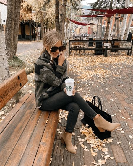 Found an exact look-a-like of my camo turtleneck sweater from last year 🙌🏼🍂  Fall outfit, boots, booties, travel style, Colorado outfit, black jeans  #LTKshoecrush #LTKunder50 #LTKstyletip
