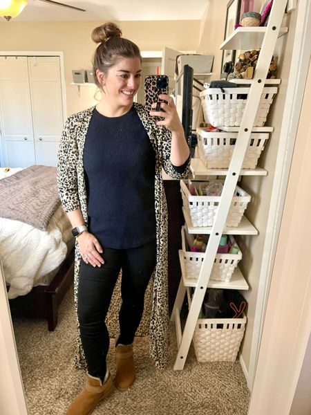 Colorado is killing me with the occasional 70° day and then cold and snow for days after. I was desperate to dress for Spring but I have to accommodate it for Colorado's tantrums. How cute is this leopard coverup from the @cmcoving & @pinklily collection?! Every time I look at this collection I find more items I live- but this kimono is a wardrobe staple for sure!   #LTKworkwear #LTKunder50 #LTKstyletip