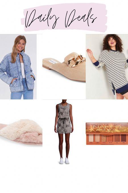 Acid wash denim jacket / chain link mules / striped tunic sweatshirt / fur sandals / $7 romper / naked petite palette   #LTKstyletip #LTKsalealert #LTKunder50