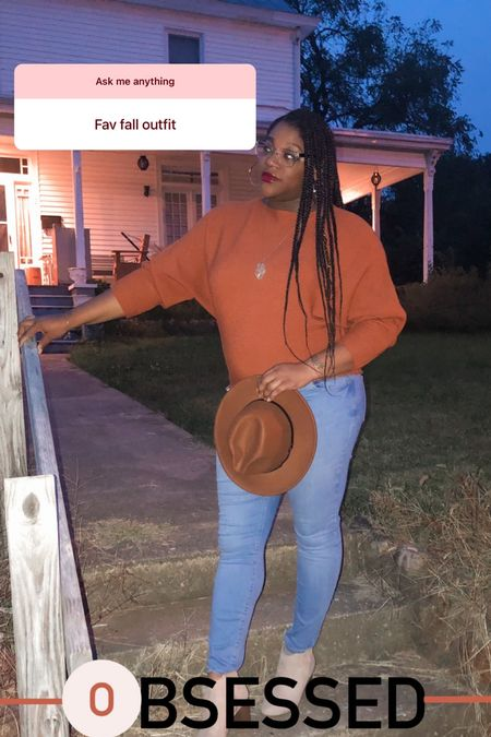 Favorite fall outfit.  __ Wearing a large in sweater (fits TTS)  #LTKshoecrush #LTKstyletip