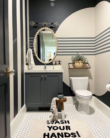 Bathroom sources linked here  Sconce lighting  Shelf Wood beaded mirror http://liketk.it/3jOMN #liketkit @liketoknow.it #LTKhome
