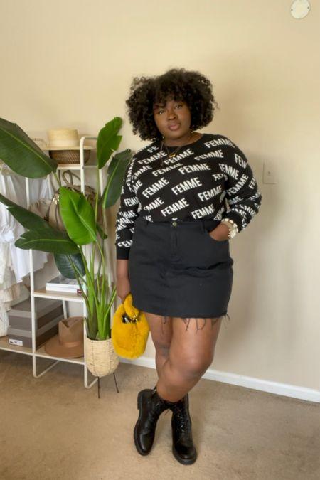 Fall outfit idea ft print sweater mini denim skirt combat boots & fur bag #PurseSize  #LTKcurves #LTKSeasonal #LTKstyletip