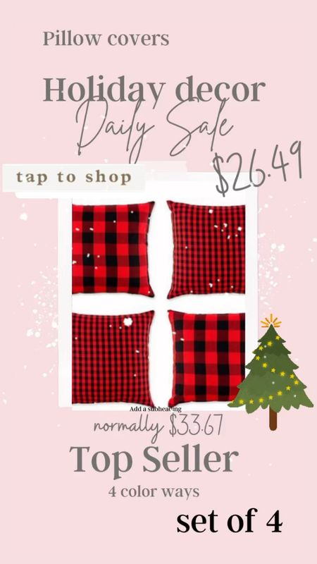 HolidaY decor🎄❤️🖤 . SALE Set of 4 pillow covers Comes in 4 color ways! Perfect for Holiday decorating:)  .   #LTKHoliday #LTKsalealert #LTKSeasonal