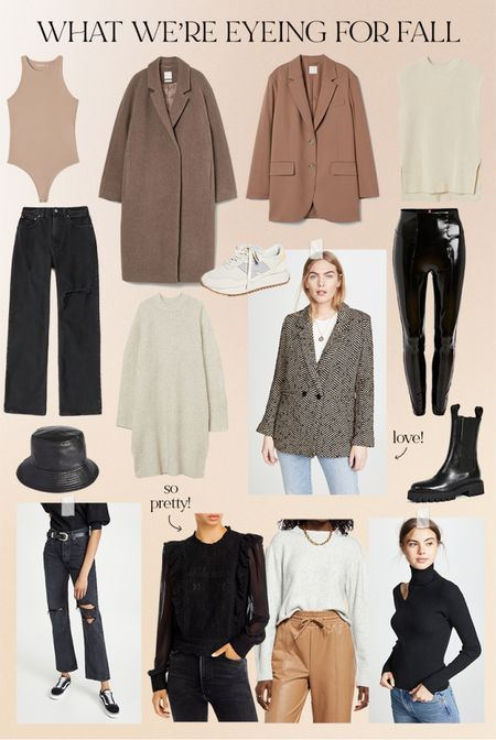 What we're eyeing for fall: faux leather leggings, chelsea boots, bucket hat, straight leg jeans, beige blazer, sweater vest, cropped sweater, new balance sneakers   #LTKunder50 #LTKSale #LTKunder100