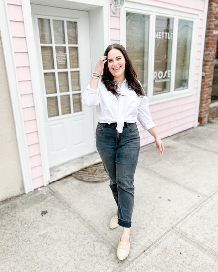 Basic spring outfit: White button down, black stretch mom jeans and woven mules http://liketk.it/3bquN #liketkit @liketoknow.it #LTKstyletip #LTKunder50 #LTKunder100
