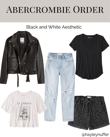 My recent order from Abercrombie! They are having a sale right now on several items. I chose versatile pieces that will carry into fall (thinking of what I'll Want to wear postpartum!)  This faux leather bomber jacket will uplevel any outfit and I'm excited to wear it with the graphic tee!    #LTKunder100 #LTKsalealert #LTKSeasonal