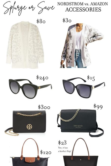 Splurge or Save - Nordstrom Sale vs. Amazon Prime - affordable cardigan, Affordable sunglasses, affordable Crossbody bag, affordable tote #Nsale #NordstromSale #AmazonPrime #AmazonFashion