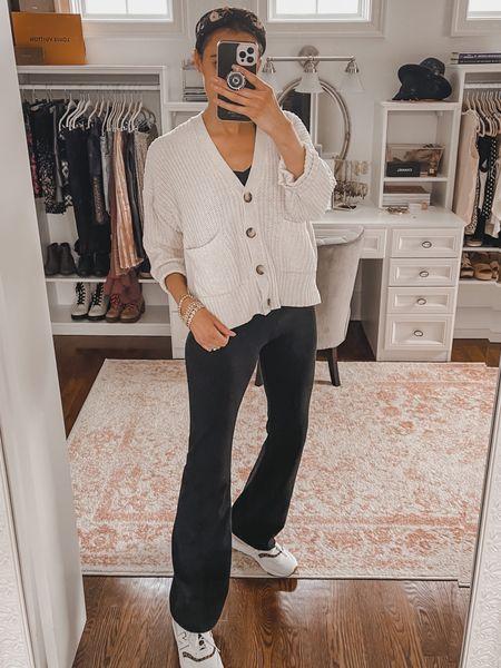 Casual weekend outfit- flared leggings, loose cardigan  #LTKunder100 #LTKunder50 #LTKstyletip