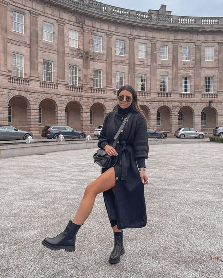 Autumn all black outfit  Knitted dress Black chunky boots Coach tabby pillow  BETHB10 for discount on Ikrush  #LTKeurope #LTKstyletip #LTKSeasonal