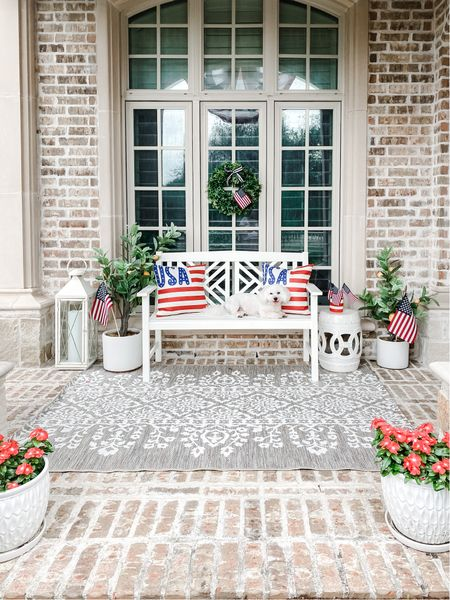 4th of July. July 4th. Patriotic Decor. Porch decor. Home decor. USA. Red white and blue. Front porch. Lemon trees. American flags. Outdoor rug. Neutral rug. White planters. Outdoor pillows. Patriotic pillows. Walmart finds.     #LTKSeasonal #LTKunder50 #LTKhome