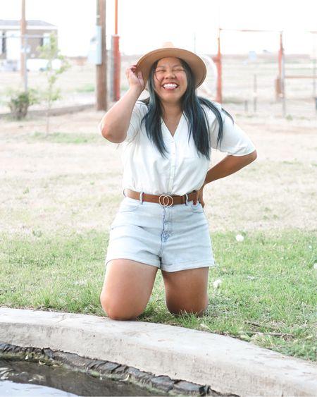 Express high waisted shorts and satin shirt http://liketk.it/2P921 #liketkit @liketoknow.it
