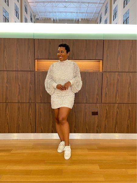Wedding weekend begins in ballon sleeve sequin mini dress with satin bride sneakers #betseyjohnson #nastygal #competition  #LTKSeasonal #LTKstyletip #LTKwedding