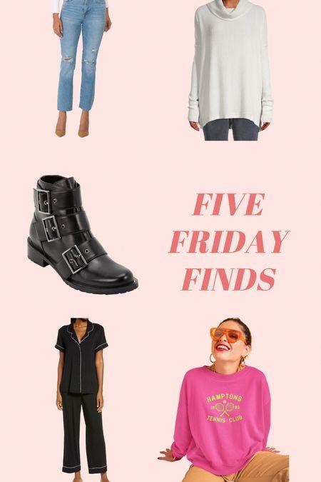 Moonlight pajamas // tennis graphic sweatshirt // black moto boots // true religion denim // Nordstrom pajamas // free people   #LTKsalealert #LTKSeasonal #LTKunder50