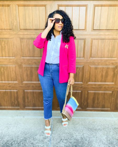 It's the Rainbow striped purse for me! A pop of pink with the blazer with a classic white shirt and this amazing bag that certainly is statement piece . Screenshot this pic to get shoppable product details with the LIKEtoKNOW.it shopping app http://liketk.it/3hMKu @liketoknow.it #liketkit #ootd #humpday #fashionista #onwednesdaywewearpink #rainbows #pridemonth #fashionblogger #igstyle #macysfind #teamnatural #midsizeblogger #fashionover40 #midwestblogger  #instastyle