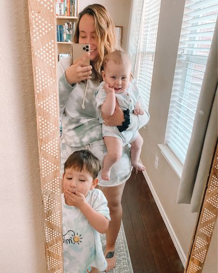 """Matchy matchy with my mini quarantine crew ☀️  Pants are now optional for the 3-year-old who is not quite potty-trained yet.   Swipe for a clip of us all deliriously laughing at the way Em says tie dye (""""tie tie""""). Our standards for entertainment are pretty low lately. Happy Tuesday (I think).    Shop your screenshot of this pic with the LIKEtoKNOW.it shopping app or click the link in my bio. http://liketk.it/2NMCp @liketoknow.it @liketoknow.it.family @liketoknow.it.home #liketkit #StayHomeWithLTK #LTKMothersDay #LTKfamily"""