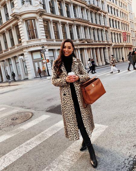 Leopard print coat with faux leather leggings.   #LTKstyletip #LTKSeasonal #LTKshoecrush