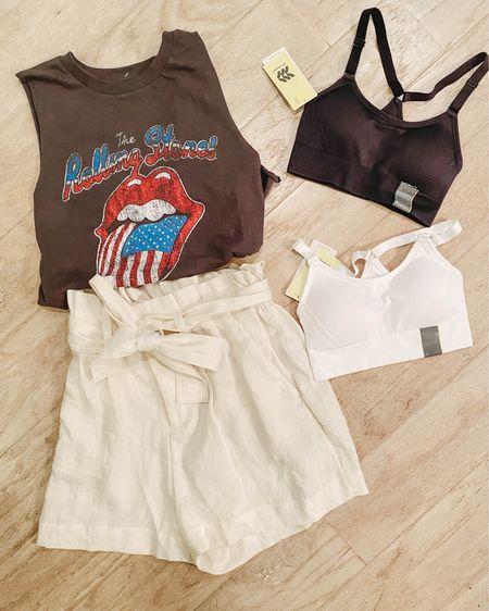 Target fashion finds graphic sleeveless tee, paperbag high waisted shorts, favorite sports bra. http://liketk.it/3eHUm #liketkit @liketoknow.it #LTKunder50 #LTKfit #LTKstyletip