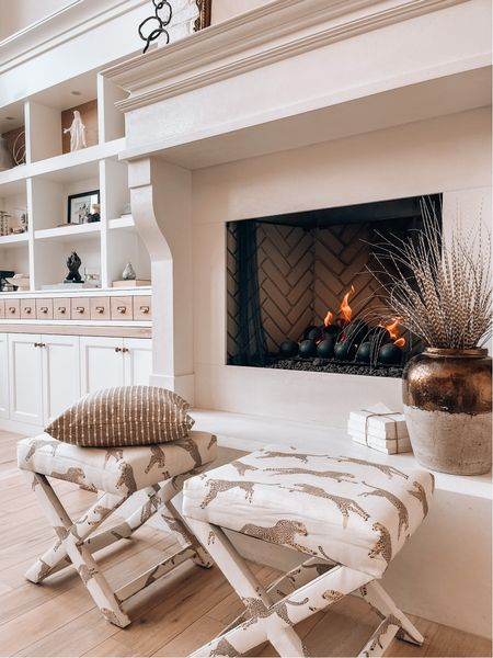 Cozy fall vibes with leopard print ottomans and cozy neutrals layers. Customize your c benches with a to. Of designer fabrics   #LTKSeasonal #LTKhome