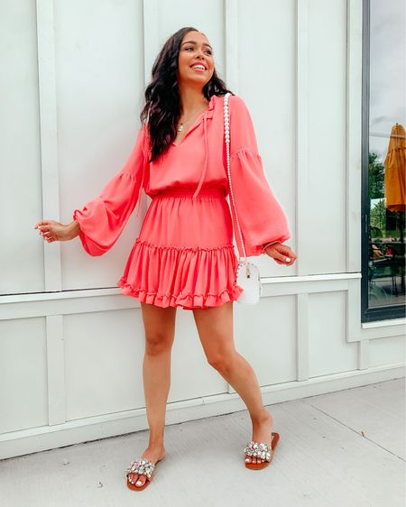 LTK Day is here & my coral dress is a part of the sale! My buddy love dress is 25% off when you shop through the @liketoknow.it app! 🤩 This dress is perfect for bridal showers & vaca!! ☀️ Wearing a size XS and fits true to size! Screenshot this pic to get shoppable product details with the LIKEtoKNOW.it shopping app :  http://liketk.it/3hmSf #LTKunder100 #LTKDay #liketkit