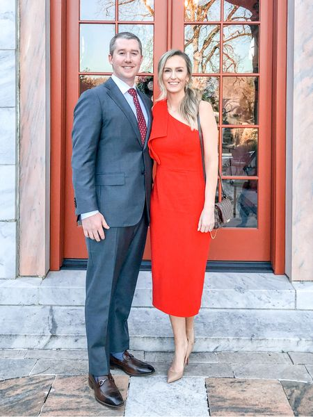 Red one shoulder wedding guest dress - wearing size small  #LTKwedding #LTKshoecrush #LTKstyletip