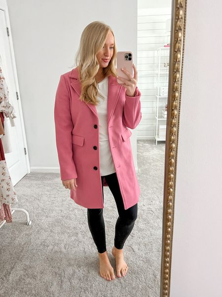 Can't get over this pink coat under $50! Wearing a small and it fits like a glove    Walmart finds #walmartfashion #affordablecoat #walmart  #LTKunder50