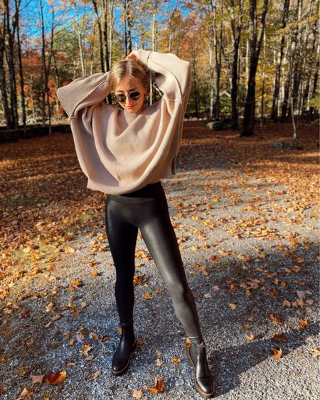 Perfect easy fall outfit! This sweater runs huge (I'm wearing a small), leggings run TTS but border on the smaller side, and boots are water resistant and run TTS! @liketoknow.it http://liketk.it/2XRuJ #liketkit #LTKshoecrush #LTKunder100 #LTKstyletip #ltkfall