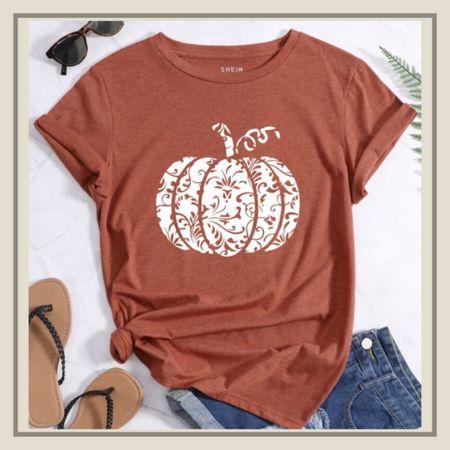 Pumpkin print round neck tee  #LTKunder50 #LTKstyletip #LTKSeasonal