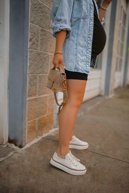 Loving these white sneakers via Vince Camuto! White sneakers, black mini dress, baby bump, pregnancy style  #LTKshoecrush #LTKstyletip #LTKbump