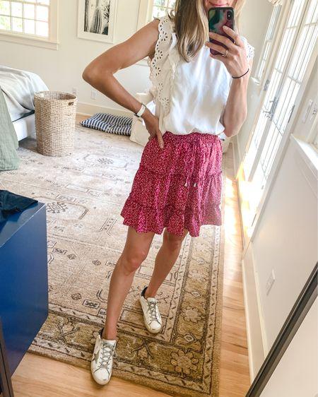 Boho amazon skirt, sezane eyelet top and golden goose sneakers http://liketk.it/3jlb7 #liketkit @liketoknow.it #LTKunder100 #LTKstyletip #LTKshoecrush