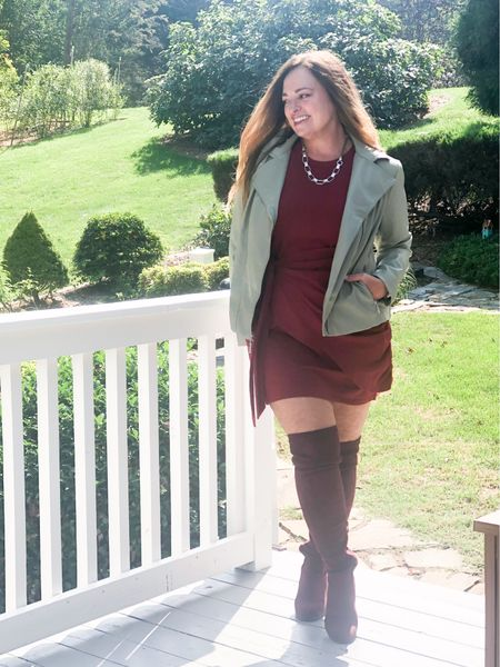Another Fall Edit! Featuring cranberry and sage… this faux dress is so flattering paired with matching OTK boots and my faux leather moto jacket and silver/leather necklace. #gifted @lovechicos  What is one of your unexpected color parings?   #LTKbacktoschool #LTKSeasonal #LTKstyletip