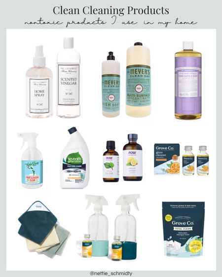 """Nontoxic """"clean"""" cleaning products I use in my home. I am always trying to eliminate more toxins from our home to live healthier and more simply. I also eliminate single use plastics and go plastic free whenever possible! In this clean household cleaners roundup, find microfiber cleaning cloths, reusable glass spray bottles, essential oils and toxin-free household cleaning products like dish soap, glass cleaner and scented vinegar 🤍 I use all these cleaning supplies in our home 🏡  .  Shop your screenshot of this pic with the LIKEtoKNOW.it shopping app http://liketk.it/3jf7J  .  #liketkit @liketoknow.it #LTKfamily #LTKhome #LTKunder50 @liketoknow.it.home"""