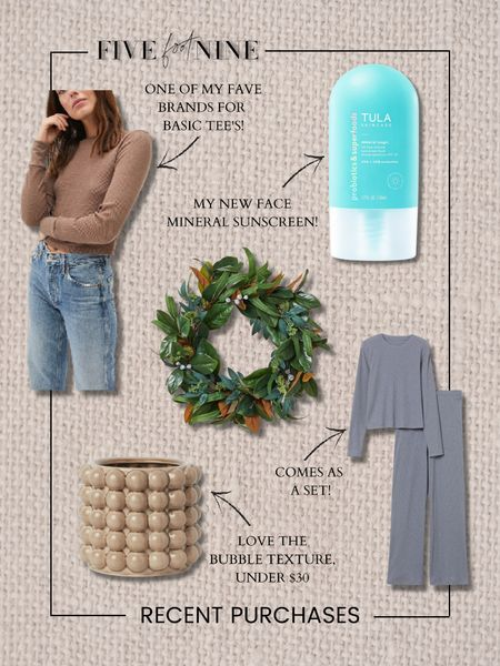 Recent purchases! Waffle tee, front door wreath, plant pot, pajama set, Tula mineral sunscreen   #LTKunder100