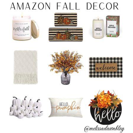 Amazon fall decor, candles, pumpkins, wreath, door mat, throw   #LTKhome #LTKunder50 #LTKsalealert