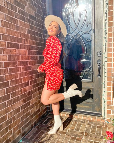 Linked this beige Fedora and ankle boots along with gold hoop earrings and some dupes of this red floral dress ♥️ http://liketk.it/3ddoJ #liketkit @liketoknow.it #LTKunder100 #LTKstyletip #LTKshoecrush