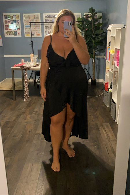 Sexy black dress (ruffle satin dress) this plus size black dress would be perfect for a wedding or date night! It's also 30% off — true to size   #LTKsalealert #LTKcurves