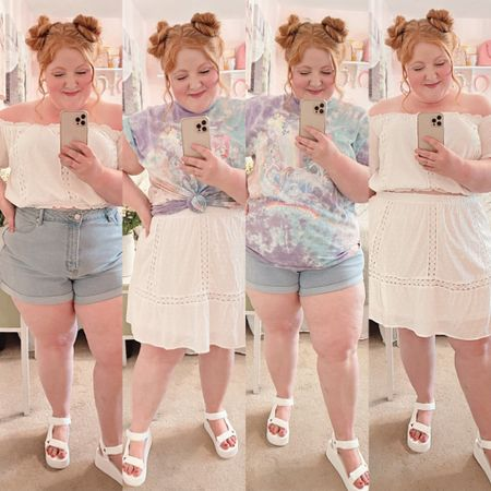 Shop 90s trends like matching sets, tie dye tees, denim shorts, and platform shoes at rue21 in sizes xs-XL and 1X-4X! I'm wearing the size 2X across all styles, and my measurements are 47-39-51. These strappy platform sandals are full adjustable to fit wider feet too! Take an additional 15% OFF your purchase with code WONDER15!  http://liketk.it/3hav9 #LTKcurves #LTKunder50 #LTKsalealert #liketkit @liketoknow.it