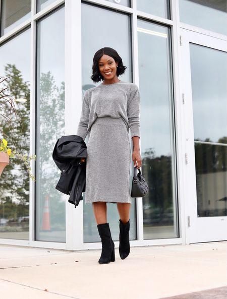 #ad The coziest knit sweater and skirt from Walmart Fashion.     #LTKSeasonal #LTKstyletip #LTKunder50