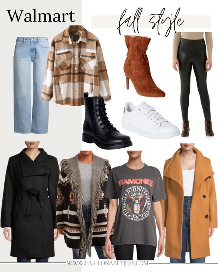 Fall style from Walmart  Walmart fashion, affordable outfits, sweaters, jackets, boots, graphic tee   #LTKsalealert #LTKunder50 #LTKunder100