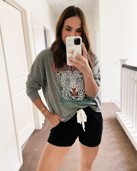 Still SO in love with this cute graphic long sleeved tee from the Nsale! It works with lounge wear and jeans/shorts! Size small in the shorts, xs in the top. #nsale #nordstromsale #anniversarysale  #LTKstyletip #LTKsalealert #LTKunder50