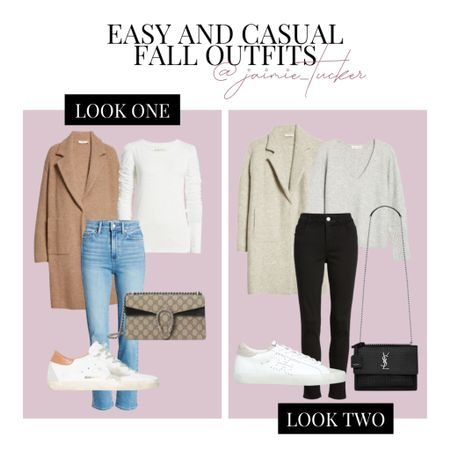 Easy and casual fall outfits! Check out the two looks I compiled. | #falloutfit #longcardigan #fallcoats #falljackets #knittedsweater #bestsellers #puffsleevetop #darkdenim #falldenim #everydaylooks #errandsoutfit #traveloutfit #businesscasual  #JaimieTucker  #LTKstyletip #LTKshoecrush #LTKSeasonal