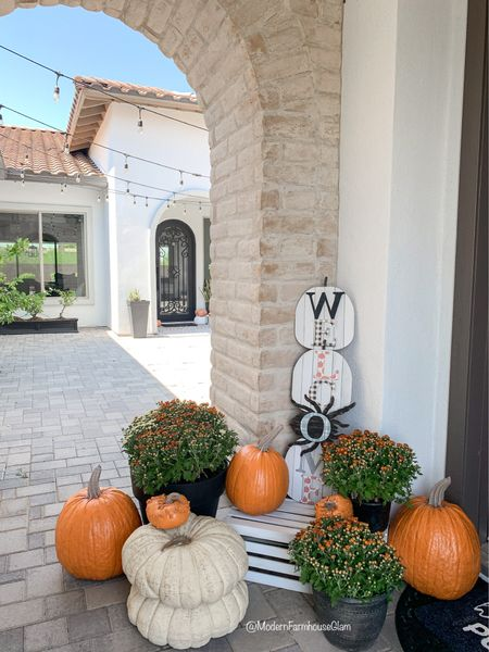 Fall porch faux pumpkins. These look so realistic. Pricey but worth the investment if you  like getting your pumpkins on your porch early. In the past I have bought real ones and they rot before Halloween. ModernFarmhouseGlam  Fall home decor   #LTKSeasonal #LTKhome