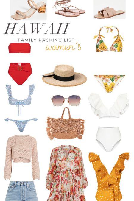 Women's Hawaii packing list. Swimsuits. One piece. Bikini. Sun hat. Sunglasses. Beach bag. Dress. Cut off shorts. Summer sweater. Sandals.   #LTKswim #LTKtravel #LTKSeasonal
